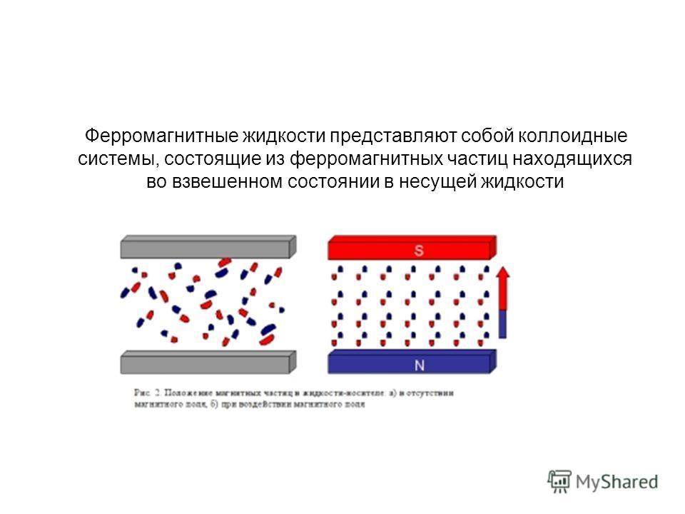 Ферромагнитные жидкости представляют собой коллоидные системы, состоящие из ферромагнитных частиц находящихся во взвешенном состоянии в несущей жидкости