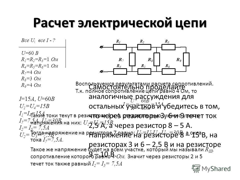 Расчет электрической цепи R1R1 R2R2 R3R3 R4R4 R5R5 R6R6 R 7 R 8 R 9 Все U, все I - ? U=60 В R 1 =R 2 =R 3 =1 Ом R 4 =R 5 =R 6 =1 Ом R 7 =4 Ом R 8 =3 Ом R 9 =4 Ом Воспользуемся результатами расчета сопротивлений. Т.к. полное сопротивление цепи равно 4