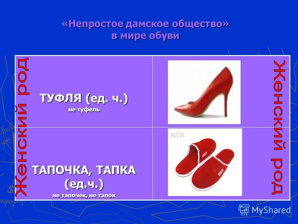 «Непростое дамское общество» в мире обуви ТУФЛЯ (ед. ч.) не туфель ТАПОЧКА, ТАПКА (ед.ч.) не тапочек, не тапок
