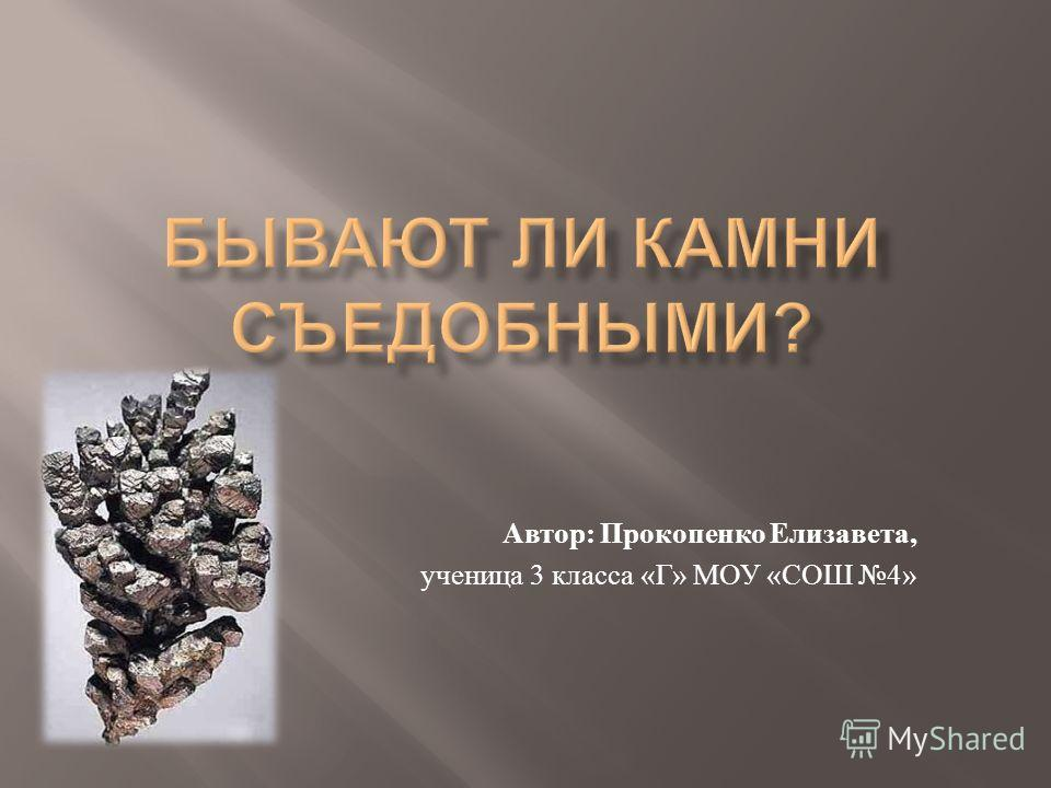 Автор : Прокопенко Елизавета, ученица 3 класса « Г » МОУ « СОШ 4»