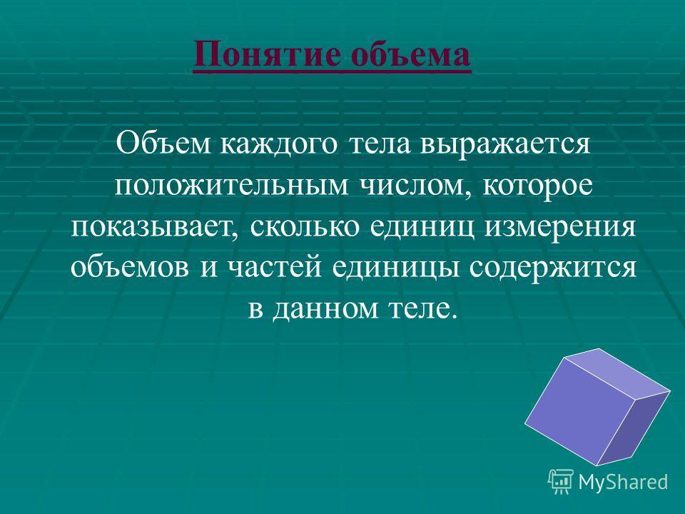 ОБЪЁМ ПРИЗМЫ. ПЛАН ТЕМЫ : I. Понятие объема. II. Основные свойства объёмов. III. Объём произвольной призмы.