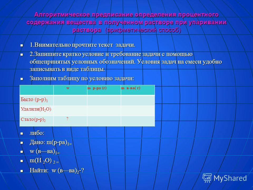 Алгоритмическое предписание определения процентного содержания вещества в полученном растворе при упаривании раствора (арифметический способ) 1.Внимательно прочтите текст задачи. 1.Внимательно прочтите текст задачи. 2.Запишите кратко условие и требов