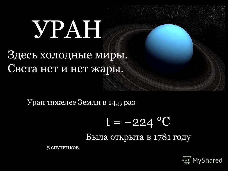УРАН Здесь холодные миры. Света нет и нет жары. t = 224 °C Уран тяжелее Земли в 14,5 раз 5 спутников Была открыта в 1781 году