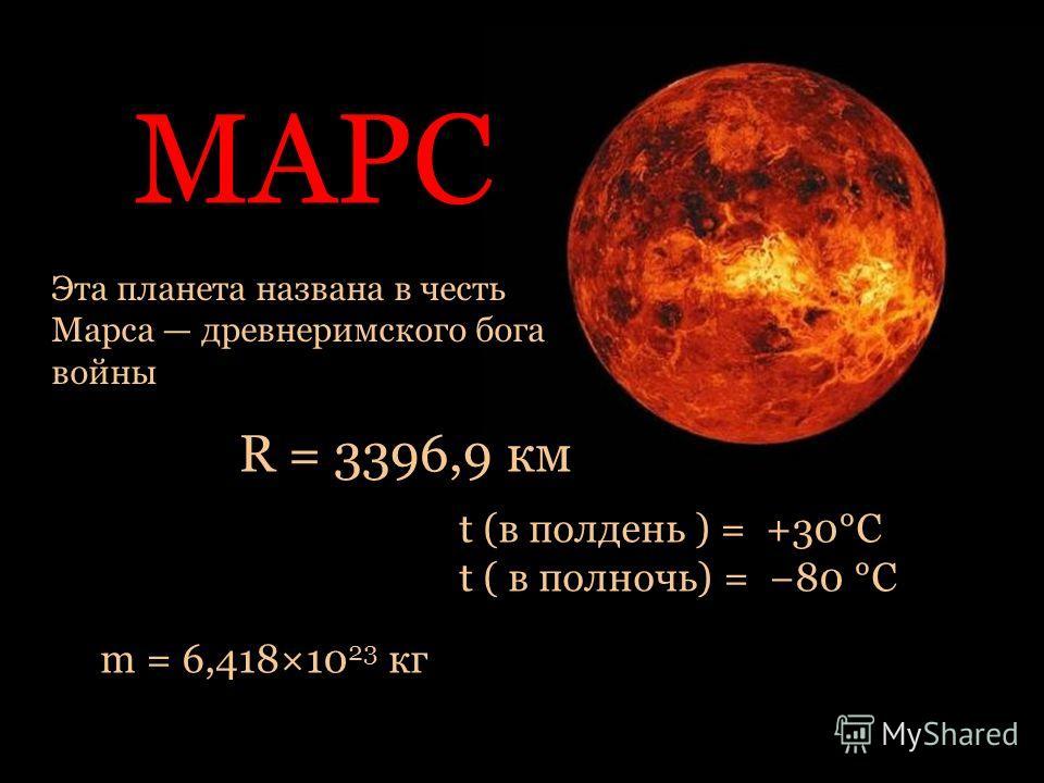МАРС Эта планета названа в честь Марса древнеримского бога войны R = 3396,9 км m = 6,418×10 23 кг t (в полдень ) = +30°C t ( в полночь) = 80 °С