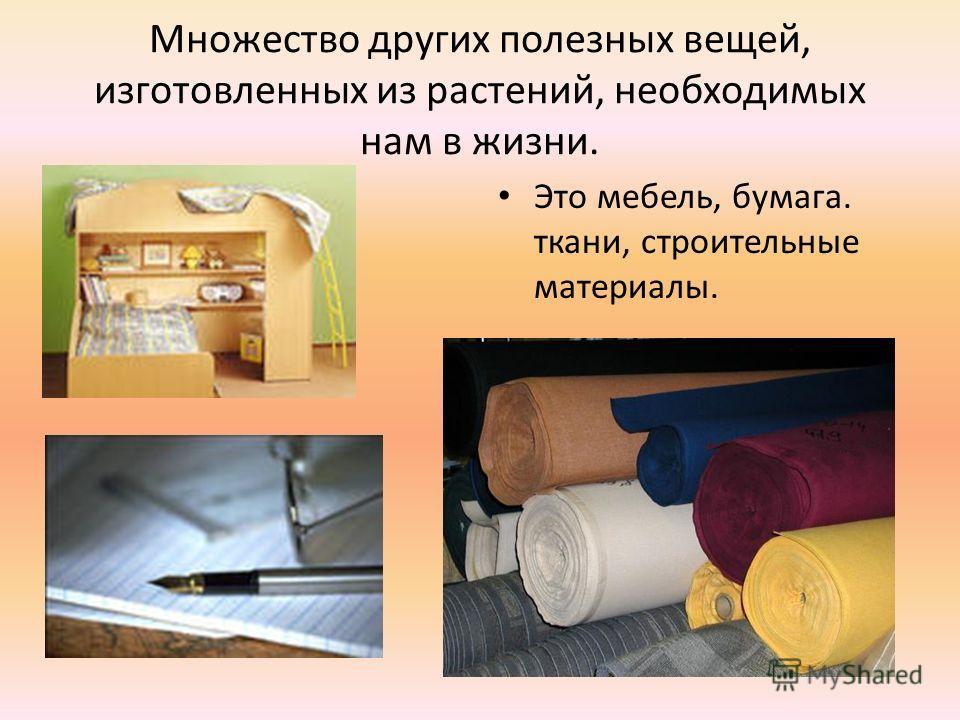 Множество других полезных вещей, изготовленных из растений, необходимых нам в жизни. Это мебель, бумага. ткани, строительные материалы.