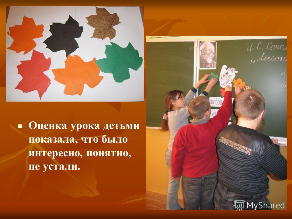 Оценка урока детьми показала, что было интересно, понятно, не устали.