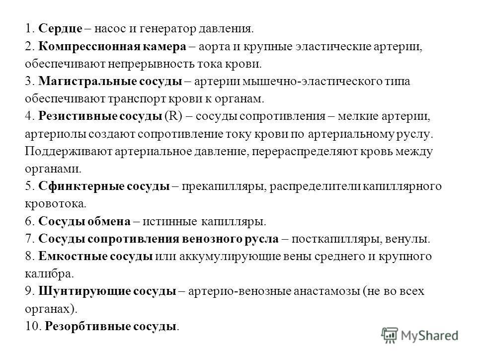 Морфофункциональная классификация сердечно-сосудистого русла В настоящее время применяется классификация, разработанная проф. Б. Фолковым и Б.И. Ткаченко.