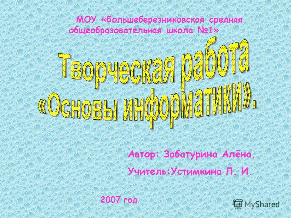 МОУ «Большеберезниковская средняя общеобразовательная школа 1» Автор: Забатурина Алёна. Учитель:Устимкина Л. И. 2007 год.