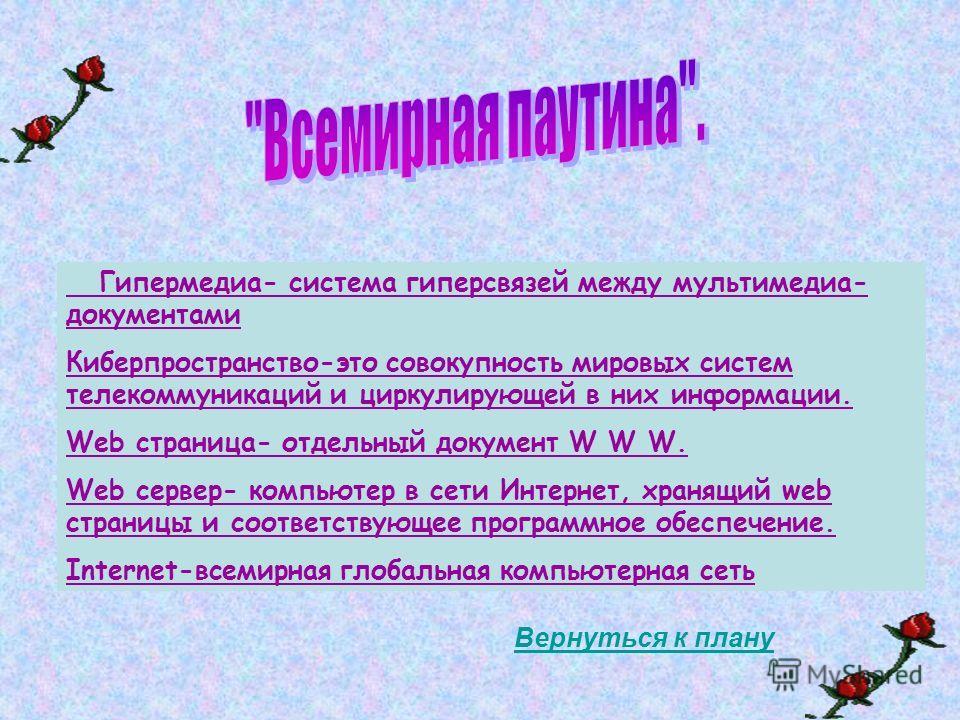 Гипермедиа- система гиперсвязей между мультимедиа- документами Киберпространство-это совокупность мировых систем телекоммуникаций и циркулирующей в них информации. Web страница- отдельный документ W W W. Web сервер- компьютер в сети Интернет, хранящи