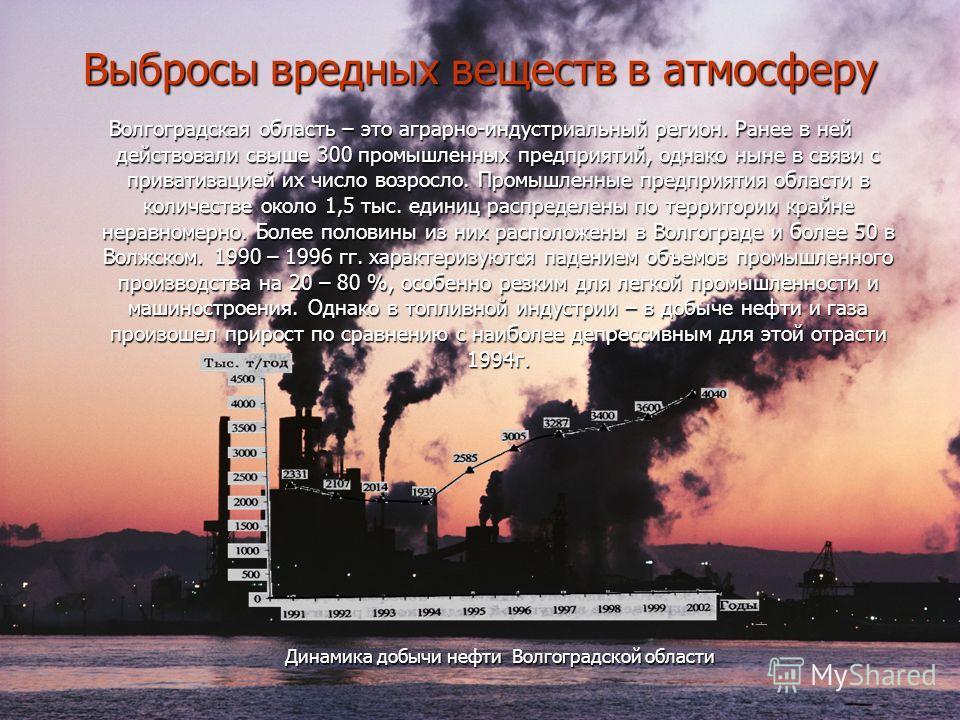 Выбросы вредных веществ в атмосферу Волгоградская область – это аграрно-индустриальный регион. Ранее в ней действовали свыше 300 промышленных предприятий, однако ныне в связи с приватизацией их число возросло. Промышленные предприятия области в колич