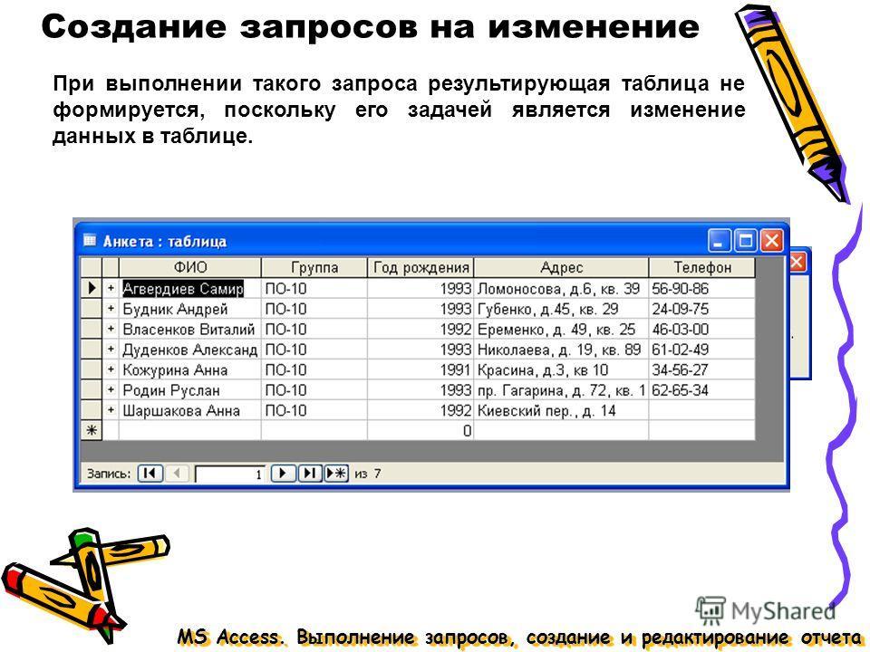 MS Access. Выполнение запросов, создание и редактирование отчета Создание запросов на изменение При выполнении такого запроса результирующая таблица не формируется, поскольку его задачей является изменение данных в таблице.