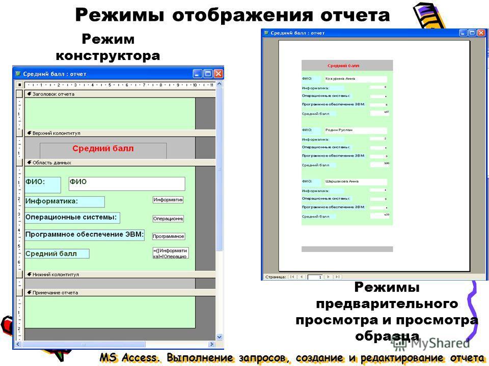 Режимы отображения отчета MS Access. Выполнение запросов, создание и редактирование отчета Режим конструктора Режимы предварительного просмотра и просмотра образца