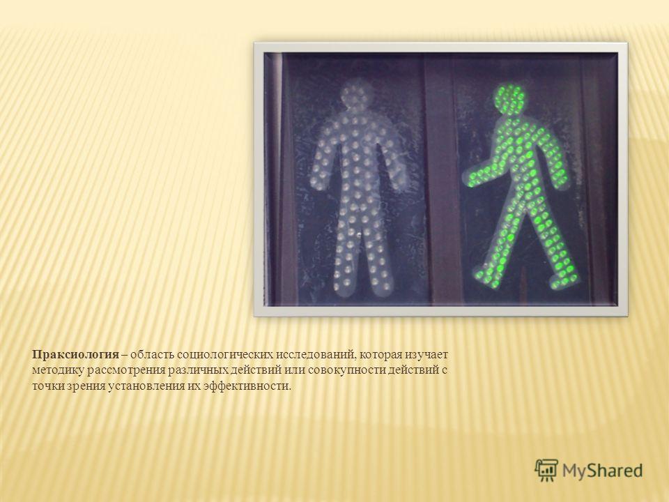 Праксиология – область социологических исследований, которая изучает методику рассмотрения различных действий или совокупности действий с точки зрения установления их эффективности.