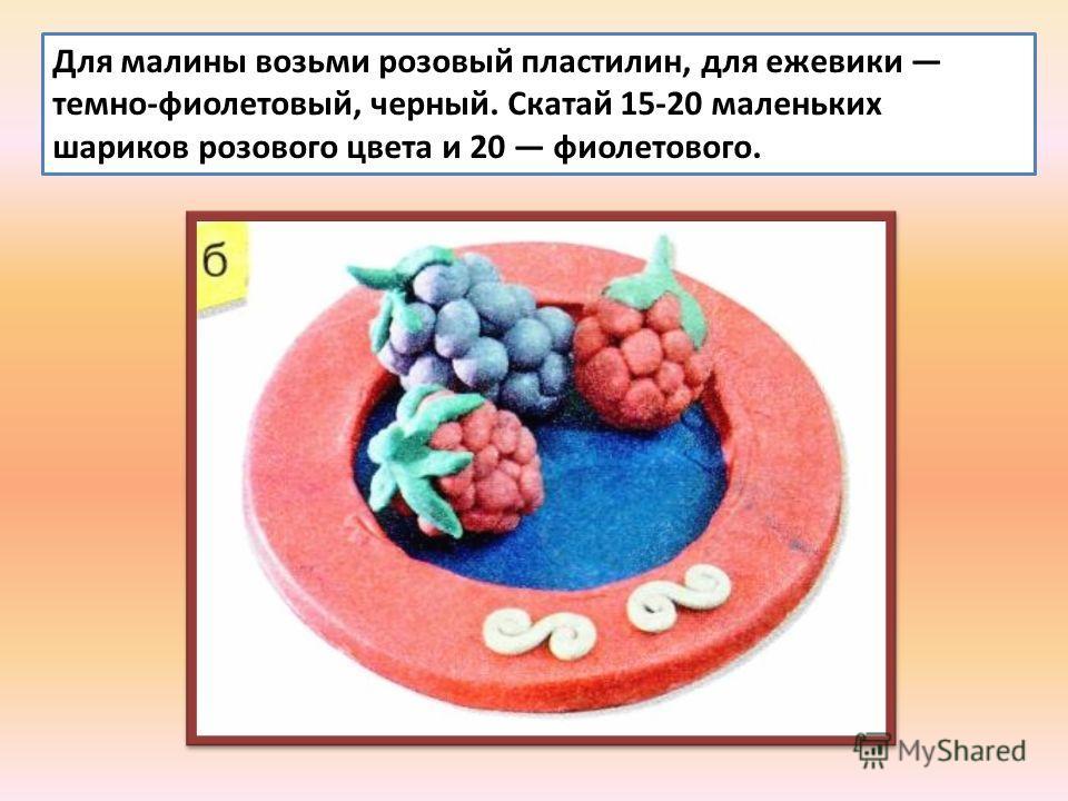 Для малины возьми розовый пластилин, для ежевики темно-фиолетовый, черный. Скатай 15-20 маленьких шариков розового цвета и 20 фиолетового.