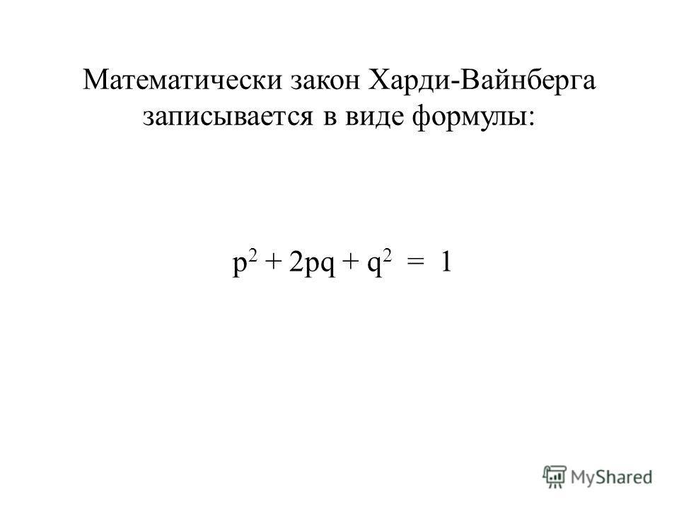 Математически закон Харди-Вайнберга записывается в виде формулы: р 2 + 2рq + q 2 = 1