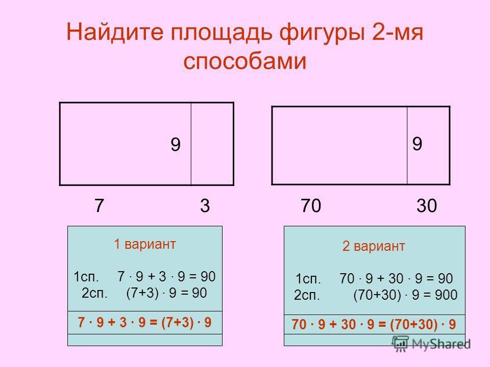 Найдите площадь фигуры 2-мя способами 7 3 70 30 9 9 7 9 + 3 9 = (7+3) 9 70 9 + 30 9 = (70+30) 9 1 вариант 1сп. 7 9 + 3 9 = 90 2сп. (7+3) 9 = 90 2 вариант 1сп. 70 9 + 30 9 = 90 2сп. (70+30) 9 = 900