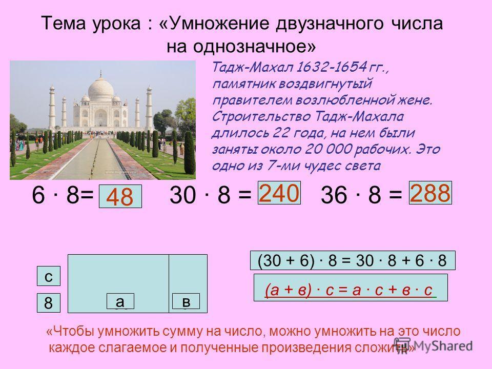 Тема урока : «Умножение двузначного числа на однозначное» Тадж-Махал 1632-1654 гг., памятник воздвигнутый правителем возлюбленной жене. Строительство Тадж-Махала длилось 22 года, на нем были заняты около 20 000 рабочих. Это одно из 7-ми чудес света 6