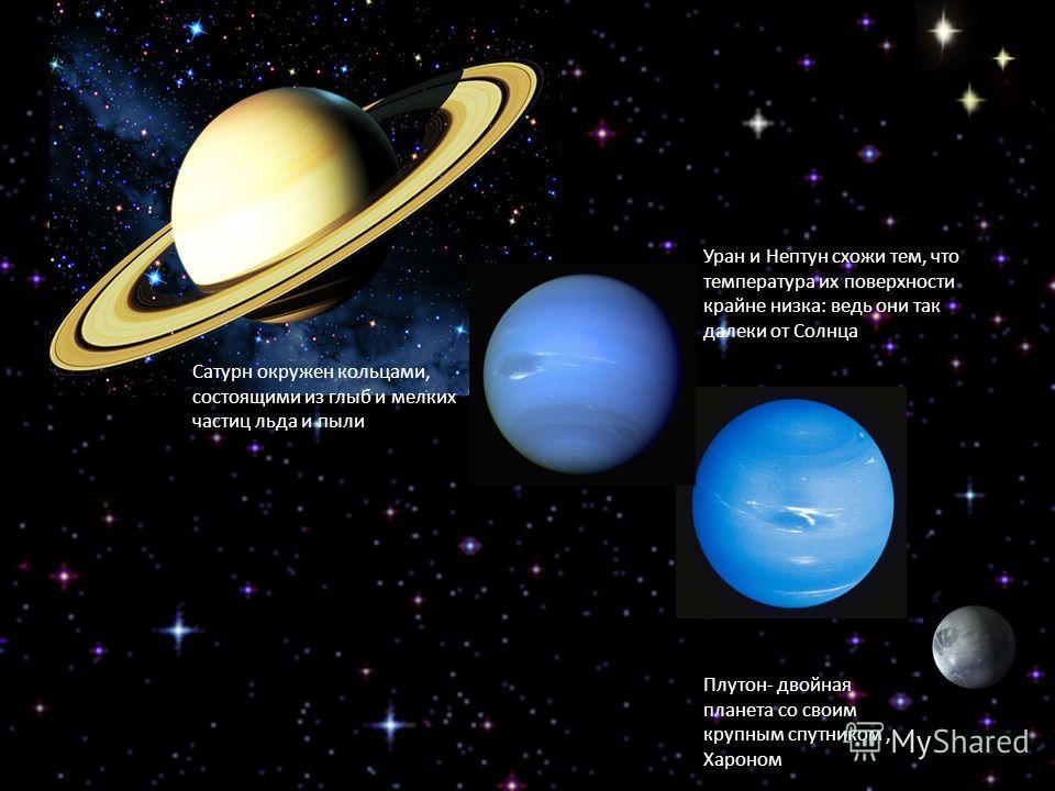 Уран и Нептун схожи тем, что температура их поверхности крайне низка: ведь они так далеки от Солнца Плутон- двойная планета со своим крупным спутником, Хароном Сатурн окружен кольцами, состоящими из глыб и мелких частиц льда и пыли