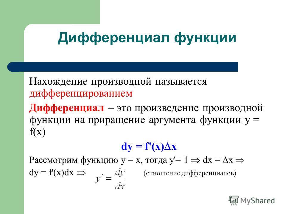 Дифференциал функции Нахождение производной называется дифференцированием Дифференциал – это произведение производной функции на приращение аргумента функции y = f(x) dy = f'(x) x Рассмотрим функцию y = x, тогда y'= 1 dx = x dy = f'(x)dx (отношение д