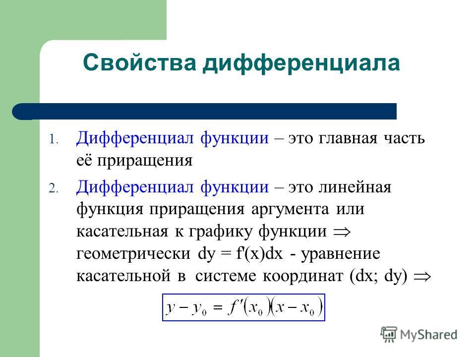 Свойства дифференциала 1. Дифференциал функции – это главная часть её приращения 2. Дифференциал функции – это линейная функция приращения аргумента или касательная к графику функции геометрически dy = f'(x)dx - уравнение касательной в системе коорди