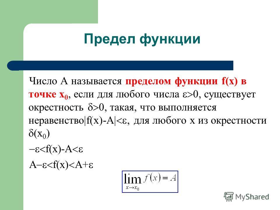 Предел функции Число A называется пределом функции f(x) в точке x 0, если для любого числа, существует окрестность, такая, что выполняется неравенство f(x)-A, для любого x из окрестности (x 0 ) f(x)-A A f(x) A+