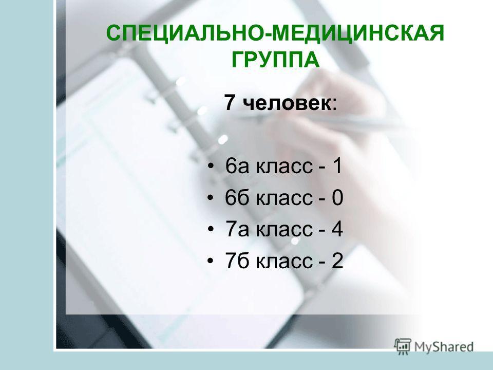 СПЕЦИАЛЬНО-МЕДИЦИНСКАЯ ГРУППА 7 человек: 6а класс - 1 6б класс - 0 7а класс - 4 7б класс - 2