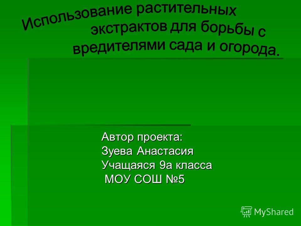 Автор проекта: Зуева Анастасия Учащаяся 9а класса МОУ СОШ 5 МОУ СОШ 5