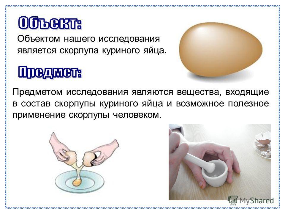 Предметом исследования являются вещества, входящие в состав скорлупы куриного яйца и возможное полезное применение скорлупы человеком. Объектом нашего исследования является скорлупа куриного яйца.