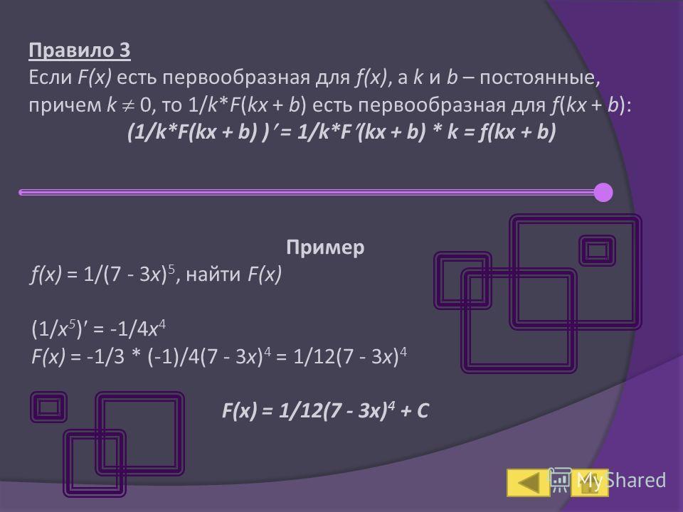 Правило 3 Если F(x) есть первообразная для f(x), а k и b – постоянные, причем k 0, то 1/k*F(kx + b) есть первообразная для f(kx + b): (1/k*F(kx + b) ) = 1/k*F (kx + b) * k = f(kx + b) Пример f(x) = 1/(7 - 3x) 5, найти F(x) (1/x 5 ) = -1/4x 4 F(x) = -