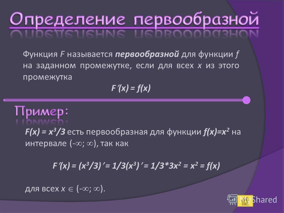 Функция F называется первообразной для функции f на заданном промежутке, если для всех x из этого промежутка F (x) = f(x) F(x) = x 3 /3 есть первообразная для функции f(x)=x 2 на интервале (- ; ), так как F (x) = (x 3 /3) = 1/3(x 3 ) = 1/3*3x 2 = x 2