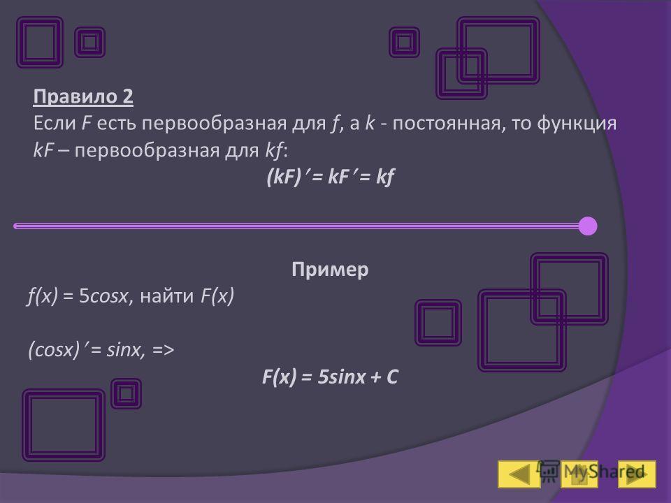 Правило 2 Если F есть первообразная для f, а k - постоянная, то функция kF – первообразная для kf: (kF) = kF = kf Пример f(x) = 5cosx, найти F(x) (cosx) = sinx, => F(x) = 5sinx + C
