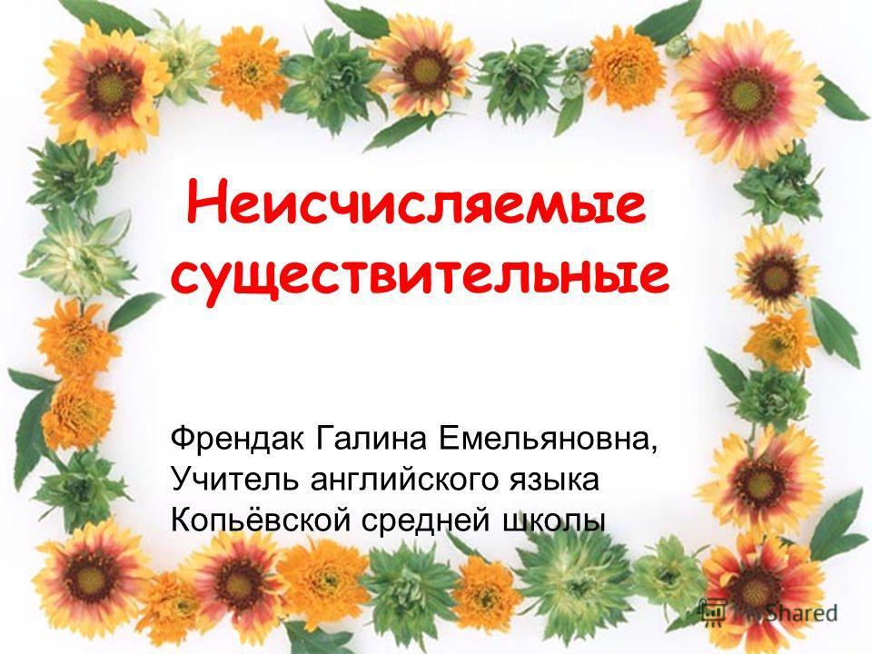 Френдак Галина Емельяновна, Учитель английского языка Копьёвской средней школы Неисчисляемые существительные