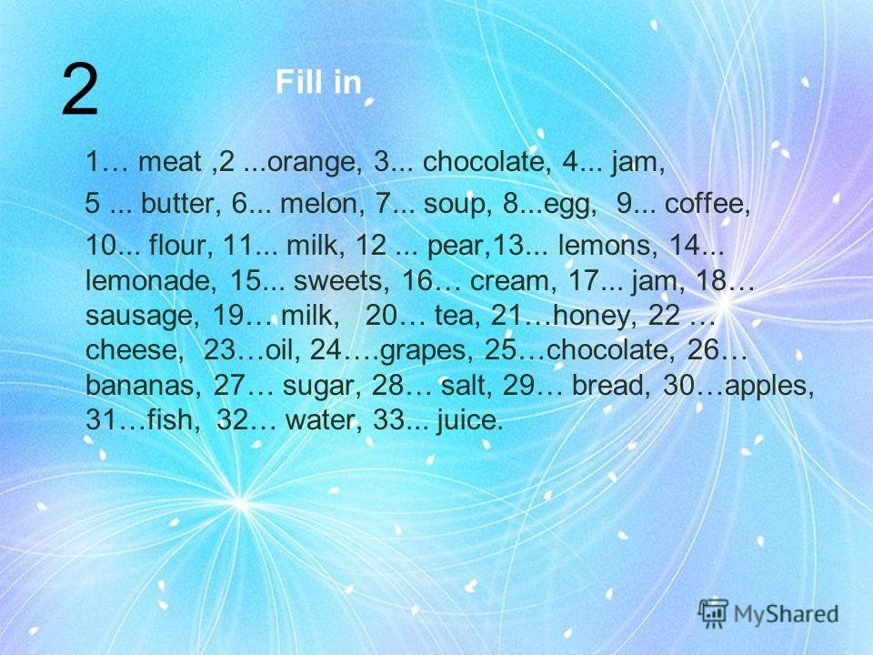 Fill in 1… meat,2...orange, 3... chocolate, 4... jam, 5... butter, 6... melon, 7... soup, 8...egg, 9... coffee, 10... flour, 11... milk, 12... pear,13... lemons, 14... lemonade, 15... sweets, 16… cream, 17... jam, 18… sausage, 19… milk, 20… tea, 21…h