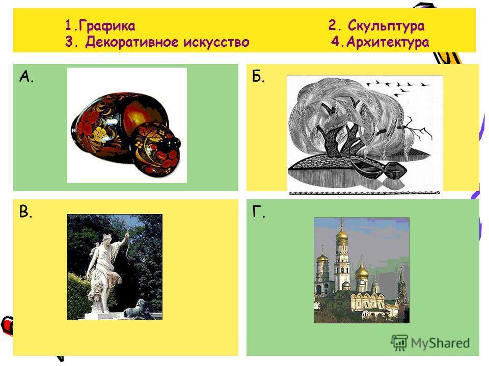 1.Графика 2. Скульптура 3. Декоративное искусство 4.Архитектура А.Б. В.Г.