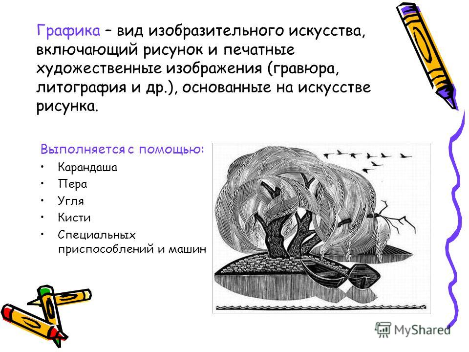Графика – вид изобразительного искусства, включающий рисунок и печатные художественные изображения (гравюра, литография и др.), основанные на искусстве рисунка. Выполняется с помощью: Карандаша Пера Угля Кисти Специальных приспособлений и машин