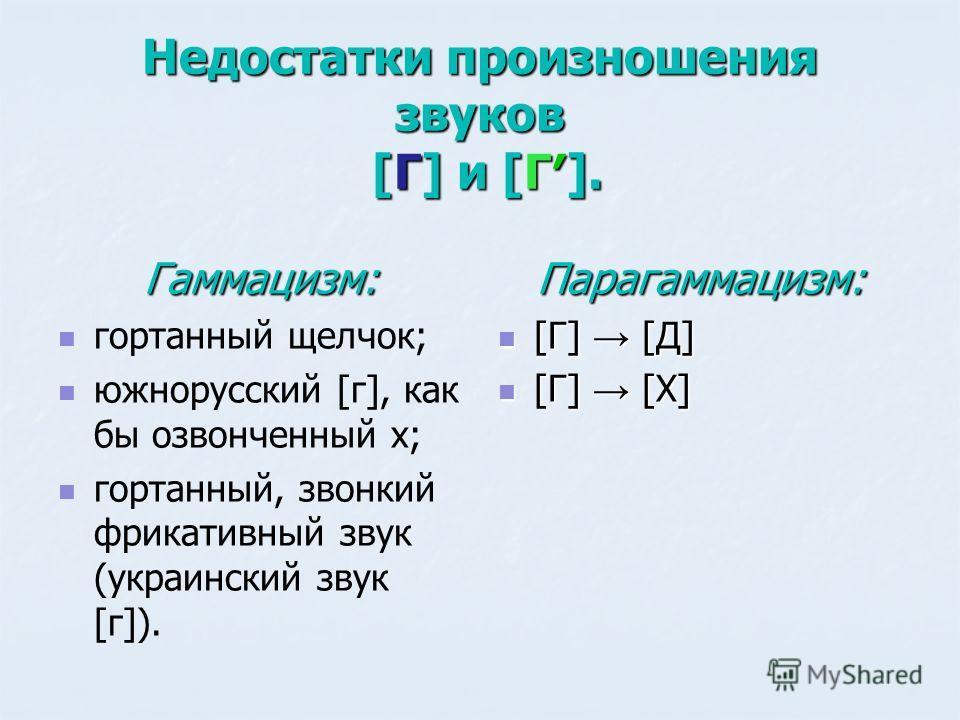 Недостатки произношения звуков [Г] и [Г]. Гаммацизм: гортанный щелчок; южнорусский [г], как бы озвонченный х; гортанный, звонкий фрикативный звук (украинский звук [г]).Парагаммацизм: [Г] [Д] [Г] [Д] [Г] [Х] [Г] [Х]