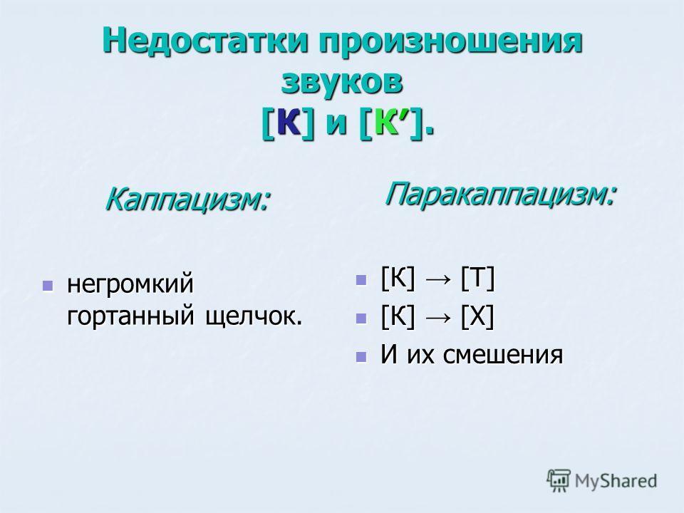 Недостатки произношения звуков [К] и [К]. Каппацизм: негромкий гортанный щелчок. негромкий гортанный щелчок. Паракаппацизм: [К] [Т] [К] [Т] [К] [Х] [К] [Х] И их смешения И их смешения