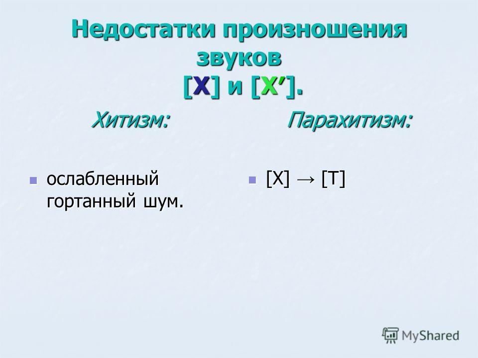 Недостатки произношения звуков [Х] и [Х]. Хитизм: ослабленный гортанный шум. ослабленный гортанный шум.Парахитизм: [Х] [Т] [Х] [Т]