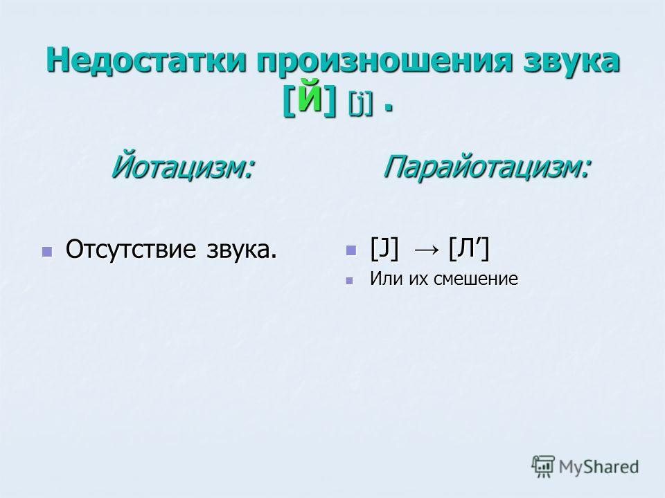 Недостатки произношения звука [Й] [j]. Йотацизм: Отсутствие звука. Отсутствие звука. Парайотацизм: [J] [Л] [J] [Л] Или их смешение Или их смешение