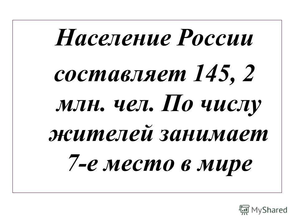 Население России составляет 145, 2 млн. чел. По числу жителей занимает 7-е место в мире