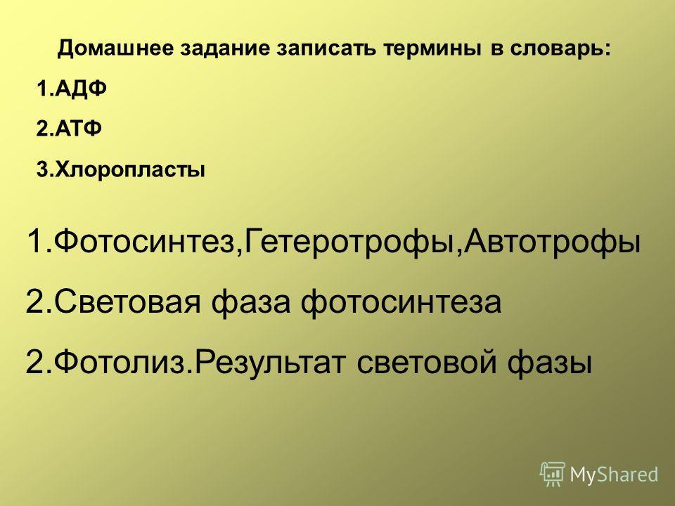 Домашнее задание записать термины в словарь: 1.АДФ 2.АТФ 3.Хлоропласты 1.Фотосинтез,Гетеротрофы,Автотрофы 2.Световая фаза фотосинтеза 2.Фотолиз.Результат световой фазы