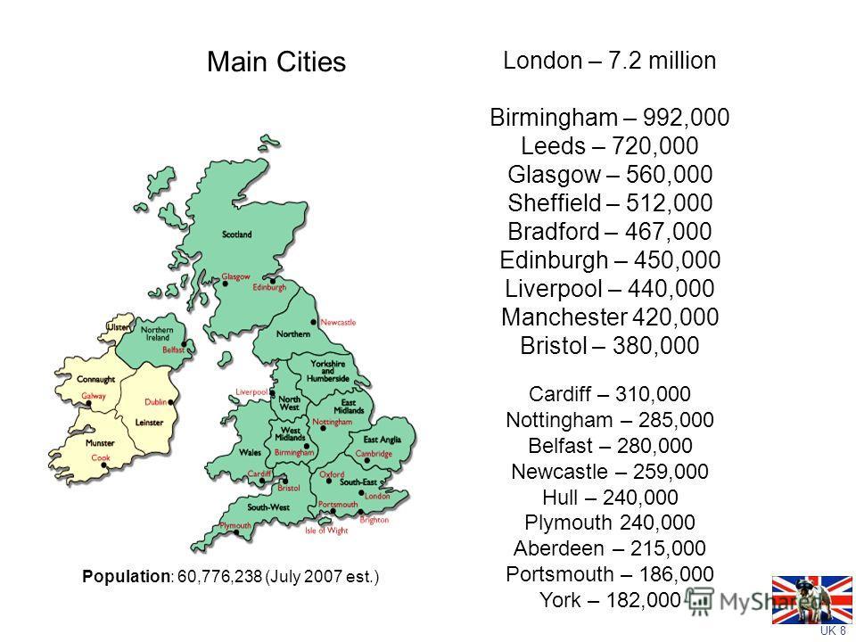 UK 8 Main Cities London – 7.2 million Birmingham – 992,000 Leeds – 720,000 Glasgow – 560,000 Sheffield – 512,000 Bradford – 467,000 Edinburgh – 450,000 Liverpool – 440,000 Manchester 420,000 Bristol – 380,000 Cardiff – 310,000 Nottingham – 285,000 Be