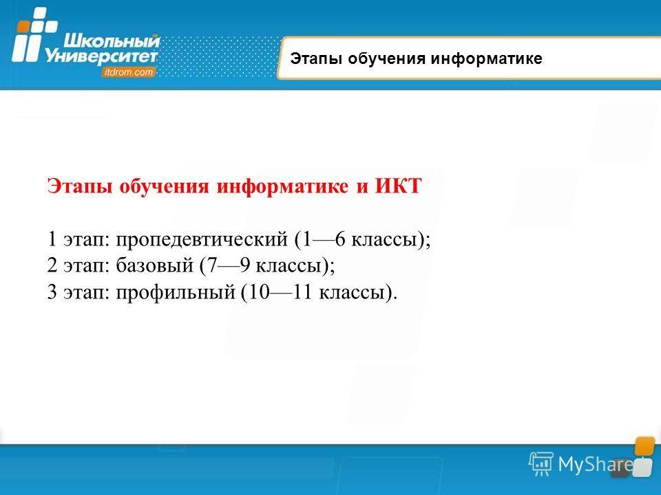 Этапы обучения информатике Этапы обучения информатике и ИКТ 1 этап: пропедевтический (16 классы); 2 этап: базовый (79 классы); 3 этап: профильный (1011 классы).