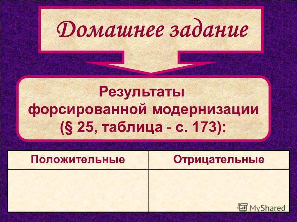 Результаты форсированной модернизации (§ 25, таблица - с. 173): ПоложительныеОтрицательные Домашнее задание
