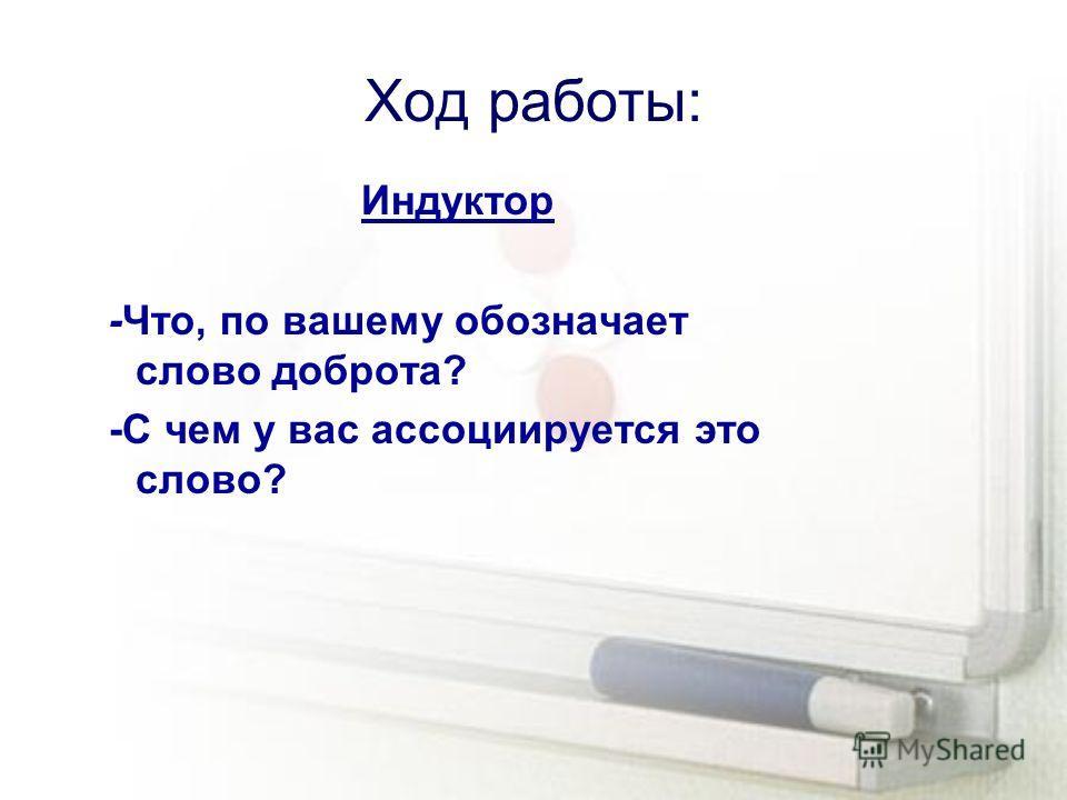 Ход работы: Индуктор -Что, по вашему обозначает слово доброта? -С чем у вас ассоциируется это слово?