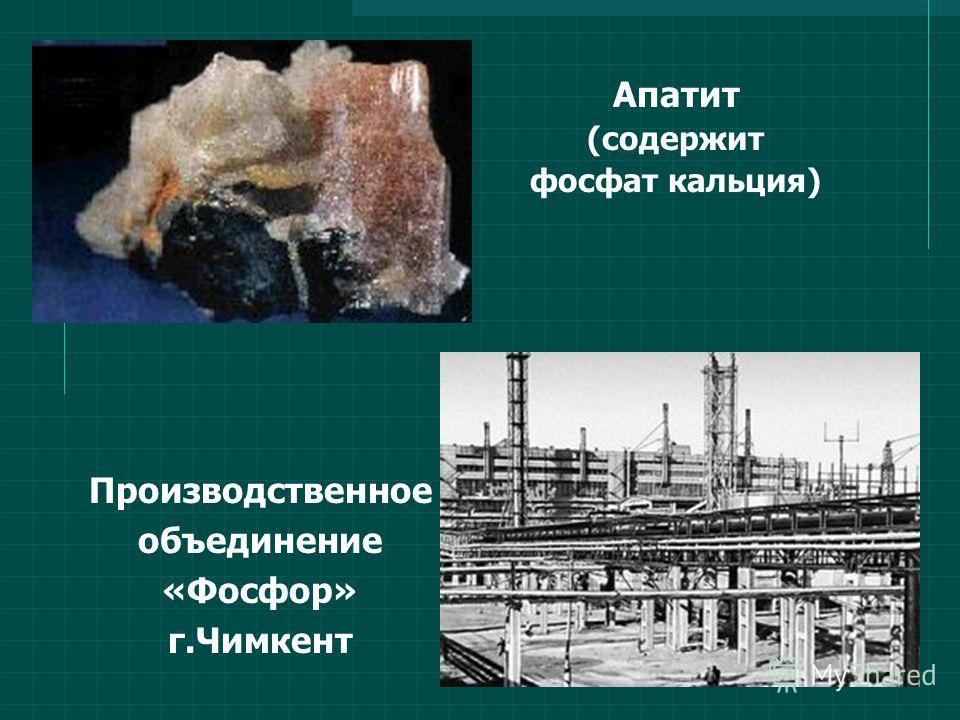 Апатит (содержит фосфат кальция) Производственное объединение «Фосфор» г.Чимкент