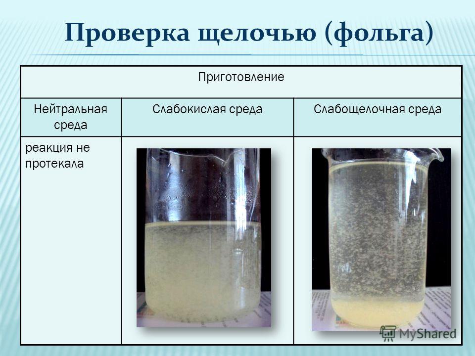 Приготовление Нейтральная среда Слабокислая средаСлабощелочная среда реакция не протекала Проверка щелочью (фольга)