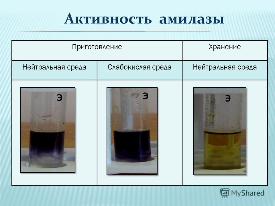 ПриготовлениеХранение Нейтральная средаСлабокислая средаНейтральная среда Э Э Э Активность амилазы