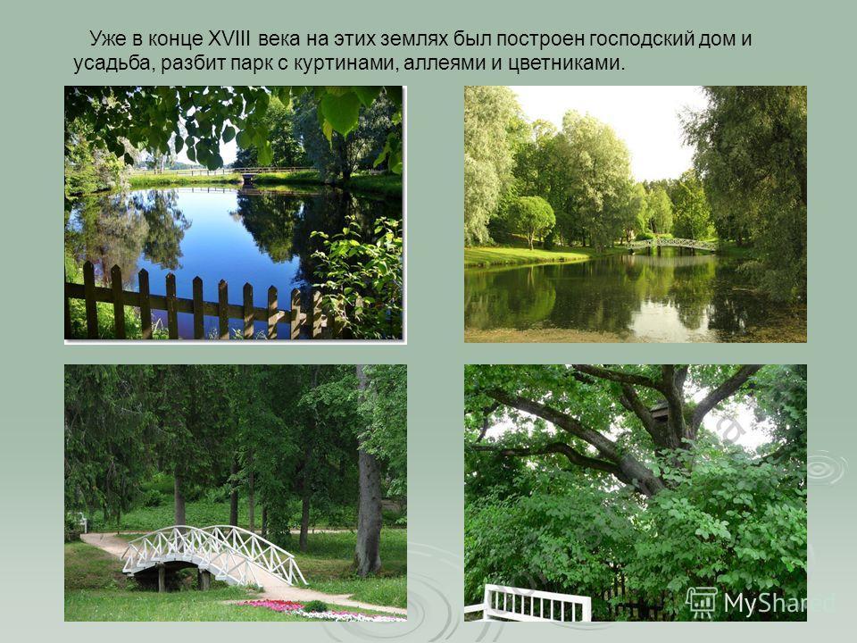 Уже в конце XVIII века на этих землях был построен господский дом и усадьба, разбит парк с куртинами, аллеями и цветниками.