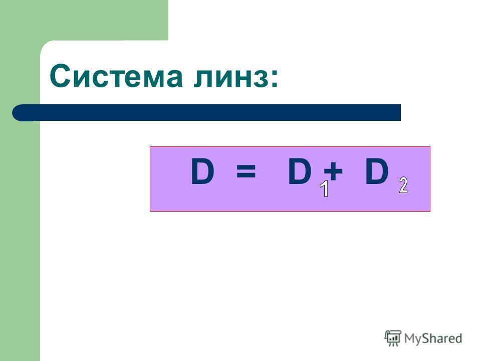 Система линз: D = D + D